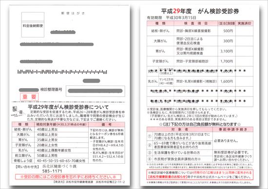 浜松市がん検診受診券